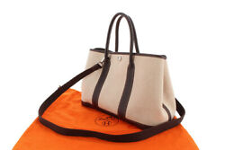 Hermes Garden Party Tpm Canvas Leather Natural Maron Silver Hardware Strap Bag