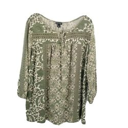 New Directions 1x Floral Crochet Accent Peasant Blouse Womens Knit Green
