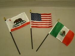 3 Flag Set Includes Mexico, Usa And California Flags For License Plate Topper
