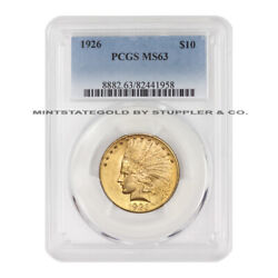 1926 10 Gold Indian Pcgs Ms63 Choice Graded Gold Eagle Philadelphia Coin