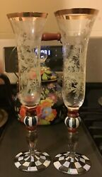 Mackenzie Childs Pair Of Blooming Champagne Flute Glasses