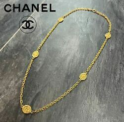 Vintage Coco Mark Necklace Metal Material Gold 88cm Chain 2.4×1.7cm Coin
