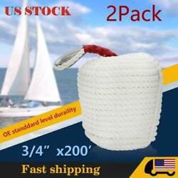 2pcs 3/4 Inch By 200 Feet Twisted Anchor Rope Three Strand Dock-line Marine Boat
