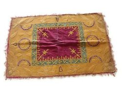 Vintage Collectible Gold Metallic Velvet Panel Silk Hand Embroidered Tapestries