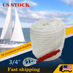 3/4x150and039 Twisted Three Strand Mooring Anchor Rope Boat Dock Marine Line Thimble