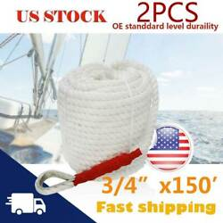 2 Pack 3/4inchx150ft Twisted Marine Dock Line Boat Mooring Rope Anchor W/thimble