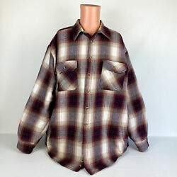 David Taylor Red Gray Flannel Plaid Shirt Jacket Shacket W/ Quilted Lining - Xlt