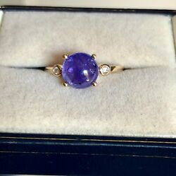Large 2.66ct Aaa Tanzanite Ring Y Gold Size N 1/2 'certified' Fab Colour Bnwt