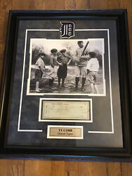 Ty Cobb Signed Check, Green Ink, Mounted And Framed, Great Photo