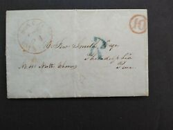 Maine Saco 1846 Stampless Registered Cover, Red Cds And Circled 10 Rate To Philly