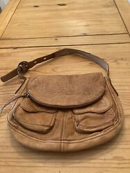 Lucky Brand Brown Tooled Italian Leather Fold Over Bag Purse $44.99