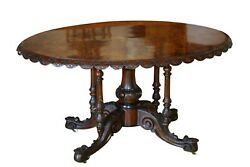 1870s Victorian Oval Burl Walnut Center Table With Inlay