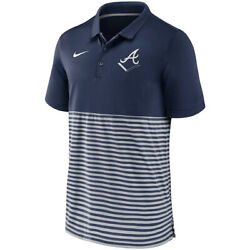 2021 Mlb Atlanta Braves Nike Authentic Collection Home Plate Striped Polo Shirt