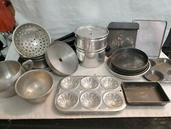 Vintage Aluminum Tin Child Toy Baking Pans And Cookware