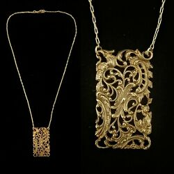 Vintage 1900s French Made Art Deco Ornate Filigree Necklace Gorgeous