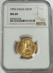1992 Gold 10 American Eagle 1/4 Oz Coin Ngc Mint State 69