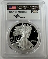 2013 W Silver American Eagle 1 Proof 1 Oz Mercanti Signed Coin Pcgs Pr 70 Dcam