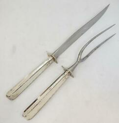 Towle Old Lace Carving Set Sterling Stainless 13.5 Knife Monogram B