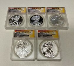 Us 2013 West Point 25th Anniversary Mint Silver Eagle 5 Coin Set Anacs 70  B244