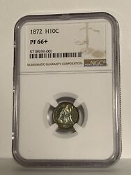 1872 Seated Liberty Half Dime Ngc Proof Pf66+ Plus And Color Toned