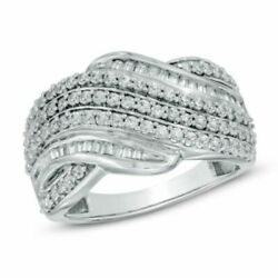 Round Cut 1ct Natural Diamond Layered Wave Band In 10k White Gold
