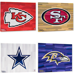 Nfl Teams 16 X 20 Logo With Background Gallery Wrapped Embellished Giclee