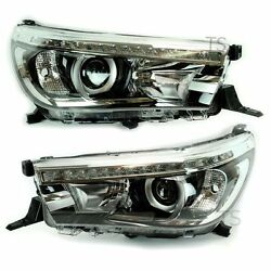 Genuine Pair Led Head Light Lamp Projector For Toyota Hilux Revo M70 M80 2016 17