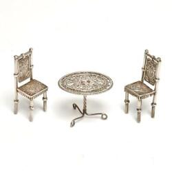 Silver Filigree Victorian Miniature Parlor Table And Chairs Dollhouse Furniture