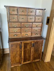 1900and039s Antique Oak Stackable 17 Library File Drawers W/lower Storage Cabinet