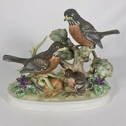 Family Of Robins By Andrea By Sadek Bird Figurine Statue