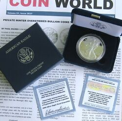 2009 Exquisite Silver Eagle Proof Dc Overstrike With Case Coa And Coin World