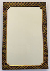 Art Deco Gold Black Geometric Floral Hand Painted Wall Hanging Antique Mirror