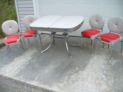 Vintage 1950s Red And Gray Cracked Ice Formica Chrome Dinette Set And 4 Vinyl Chairs