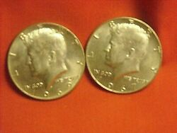 [lot Of 2] Kennedy Half Dollars 1967p, 1969d 40 Silver Free Shipping