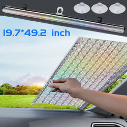 Car Retractable Front Windshield Sun Shade Suv Window Cover Roll Curtain Visor