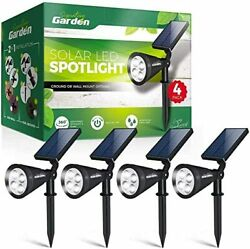 Led Solar Garden Spotlights 4 Pack No-wire Installation Ground Or Wall Mount.