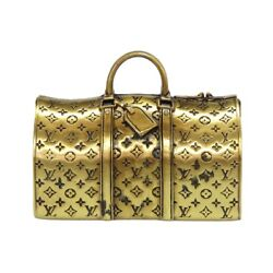 Authentic Louis Vuitton Monogram Paper Weight Keepall Motif Object Gold Metal