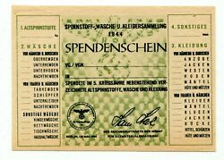 Germany Spinnstoff Sammlung 1944 Used Clothing Collection Certificate