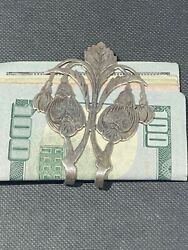 Sterling Silver Jan 1888 Antique Money Clip Money Not Included