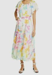 840 Tanya Taylor Womenand039s White Floral Jewel Neck Short Sleeve Midi Dress Size 2