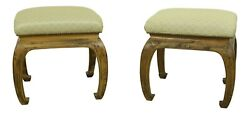 L52346ec Pair Chinese Modern Design Upholstered Benches Or Stools