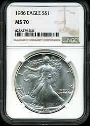 1986 1 Silver American Eagle Ms70 Ngc 6258479-001 First Year Of Issue