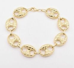 16mm Puffed Mariner Anchor Nugget Textured Chain Bracelet Real 10k Yellow Gold