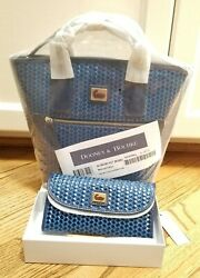 NWT Dooney amp; Bourke Camden Woven Blue Leather Small Convertible Tote amp; Wallet $230.00