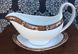 Discontinued Wedgewood Chippendale China Rare Gravy Boat With Underplate Mint