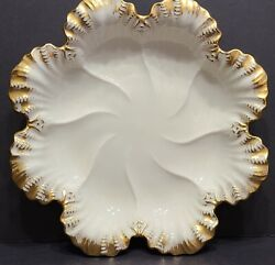 Lenox Oyster Plate 8 24k Gold Trim Scalloped Edges Made In Usa Logo