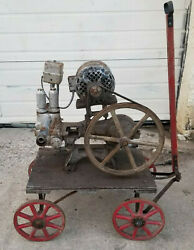 Antique F E Myers Bros Water Well Pump Electric Motor Primitive Wagon Cart Farm