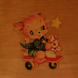 Vintage 1950's Wooden Baby Doll Crib Bed Toys Doggy Litho