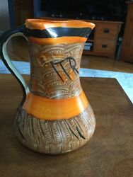 Myott Son And Co Hand Painted Pinched Neck Pitcher Jug Orange Brown