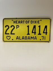 Vintage 1971 22 Coosa County Alabama Heart Of Dixie License Plate